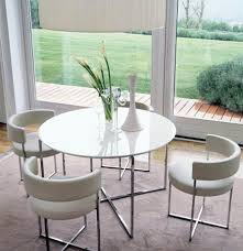 4 Seater Round Dining Table With Sandblasted Glass Top Curved Back Chairs