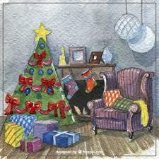 aquarell weihnachts wohnzimmer kostenlose vektor