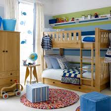 Boys Bedroom With Pine Bunk Beds And Striped Feature Wall