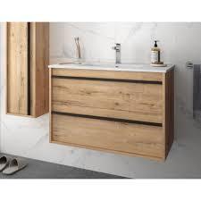 badmöbel set badezimmer möbel schrank 80 cm hänge eichenfarbe mit waschtisch