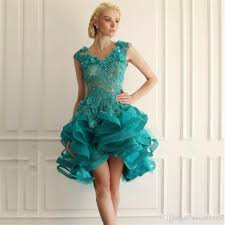 emerald green short homecoming dresses appliques lace high low