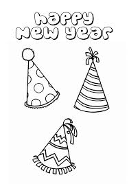 New Years Party Hat Colouring Page Coloring