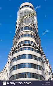 100 Martinez Architects Spain Madrid Gran Via Downtown Main Artery Carrion Edifice Stock