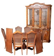 Press Back Chairs Oak by Stanley Furniture China Cabinet With Complementary Dining Table