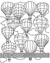 Printable Hot Air Balloon Coloring Page For Adults PDF JPG Instant Download Book Sheet Grown Ups Digital Stamp
