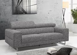 canapé 3 places canapé 3 places tissu design gris avec dossiers hauts gris
