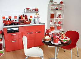 View In Gallery Small Apartment Kitchen Red And White