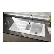 rangemaster portland 1 5 bowl white clay ceramic sink with