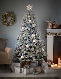 6ft Christmas Tree by 6ft Snowy Woodland White Flock Christmas Tree M U0026s