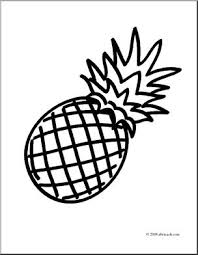 Clip Art Fruit Pineapple Coloring Page I Abcteach