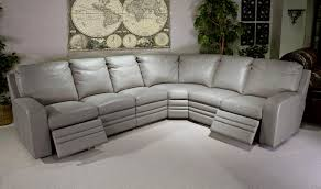 Grey Leather Sectional Living Room Ideas by Steinbeck Heron Leather Reclining Sectional Furniture And