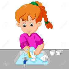 Girl Washing The Dishes Stock Vector