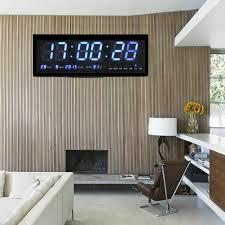 details zu uhr led digitaluhr mit datum temperatur wanduhr wohnzimmer büro 48x19x5 cm