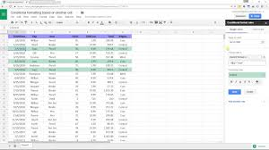 Google Sheets Conditional Formatting Based On Another Cell YouTube
