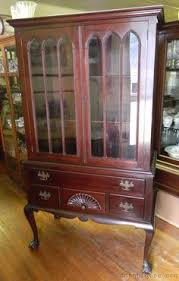 antique victorian carved mahogany queen anne china display cabinet