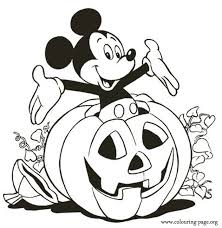 Mickey Inside A Halloween Pumpkin Coloring Page