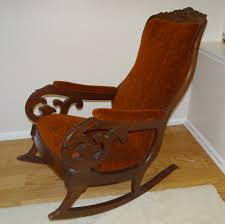 "Antique Mahogany Upholstered Rocking Chair ""Lincoln Rocker ..."