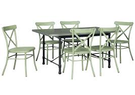 Minnona Aged Steel Rectangular Dining Table W 6 Light Green Side ChairsSignature Design