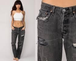 grunge jeans levis jeans ripped mom grey black boyfriend 80s