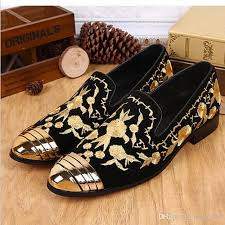 2016 Luxury New Floral Embroidered Chinese Shoes Slip On Gold Metallic Mens Loafers Leather Wedding Flat Men Women Bass Skechers