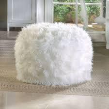 Fluffy White Ottoman