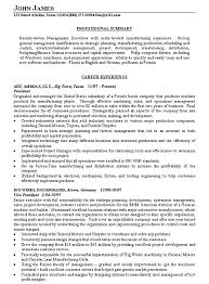 Resume Summary Template Manufacturing Executive Example Examples Sample Templates