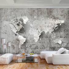 details zu vlies fototapete weltkarte grau landkarte beton tapete wandbilder wohnzimmer