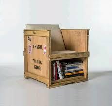 Shipping Crate Chair Shelf Combo