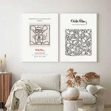 keith haring ausstellung poster und drucke andy maus wand kunst leinwand malerei galerie wand bilder für wohnzimmer wohnkultur