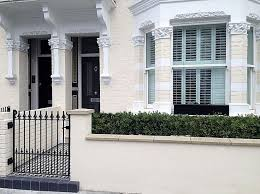 Front Garden Wall And Rail Victorian Moasic Tile Path Black Grey White Metal Gate