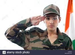 Female Soldier Saluting With Indian Flag In Background