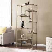 harper blvd jensen metal glass asymmetrical etagere bookcase