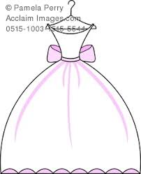 Clip Art Image of a Bridal Invitation Graphic of a Wedding Gown