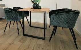 sessel esszimmer küche 4xset stühle mit armlehne dunkelgrün samt