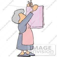 18858 Woman Putting Laundry On A Clothes Line To Sun Dry Clipart By DJArt