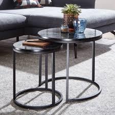 wohnling design beistelltisch 2er set schwarz marmor optik rund couchtisch 2 teilig tischgestell metall kleine wohnzimmertische moderne