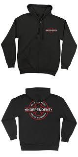 100 Independent Trucks Hoodie Clothing 23825 Underground Bar Cross Black Zip