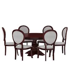 Aripeka Solid Mahogany Wood Round Dining Table With 6 Chairs Set Round Back Ding Chair Stunning High Upholstered Magnussen Home Walton Wood Table Set With Roundup Natural Linen Paige Chairs Of 2 World Market Signature Design By Ashley Trudell 5piece Gray Roundback Eichholtz Dearborn 1 Oroa Cramco Inc Contemporary Parkwood With Amazoncom Formal Luxurious 5pc Antique Silver Finish Turner At Gardnerwhite Davenport And 4 In Ivory Oak Dav010 Beige Ding Chair Curve Arm Black Wood Frame Also Round