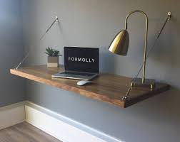 floating desk wall mounted desk walnut throughout wall mounted