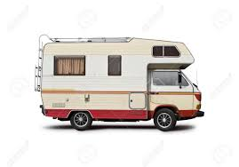 VW Motorhome Side View Isolated On White Stock Photo
