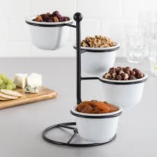 KSP Heritage 4 Tier Porcelain Snack Bowls with Stand White