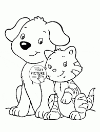 Drawing Of Cat And Dog Coloring Page For Kids Animal Pages