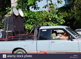 100 One Big Man One Big Truck Large Loudspeakers On Pickup In Parade In Northern Thailand With One