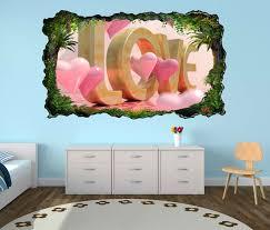 3d wandtattoo text 3d blumen rosa herz herzen liebe schlafzimmer selbstklebend wandbild wandsticker wohnzimmer wand aufkleber 11o720