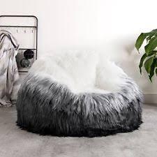 Black White Extra Large Luxury Faux Fur Bean Bag Chair Giant Luxurious Furry