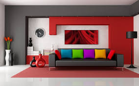 Living RoomAssorted Modern Colour Scheme With Playful Throw Pillows And Red Wall Paint Assorted