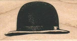 Bowler Hat Rubber Stamp Wood Mounted 7346