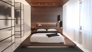 Dark Wood Colored Modern Minimalist Bedroom Design With White Curtains And Paneled Walls Chic Lighting