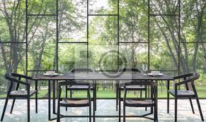 fototapete moderne esszimmer mit blick auf den garten 3d rendering image there