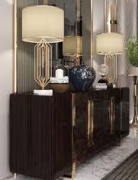 casa padrino luxus deco sideboard dunkelbraun hochglanz gold edler wohnzimmer schrank mit 6 türen deco möbel